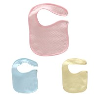 Cotton Baby Bibs with Buttons Solid Color Kids Baberos Bib Blue Pink Yellow 19*14.5 cm 1 PC