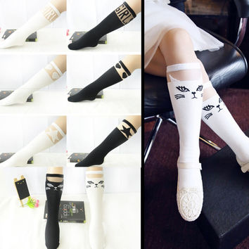Kids Girls High Knee Socks School Cat Lace Stocks Leg Warmer Black White