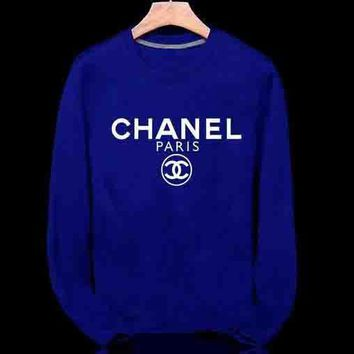 CHANEL Popular Unisex Long Sleeve Logo Letter Print Sport Top Sweater Pullover Sweatshirt Blue I
