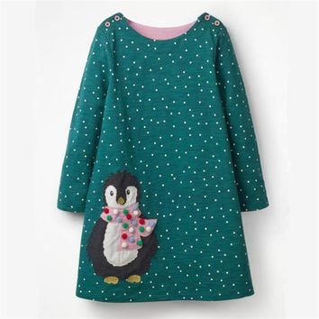 Jumping meters Brand Applique baby girls dresses autumn 2018 kids dress girl long sleeve animals applique clothes unicorn dress
