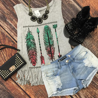 Feathers & Arrows Fringe Tank