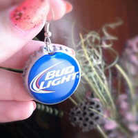 Bud Light Handmade Rockabilly-Girl Beer Bottle Cap Earrings