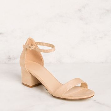 Merideth Beige Low Block Heels