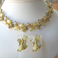 Yellow moonglow necklace and earring set vintage 1950s