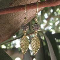 Gold Leafs Earrings Set with Brigth Silver Druzy Stones - 18k Gold Plated - Fashion Jewelry Christmas Gift