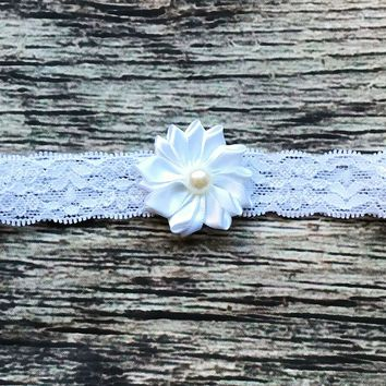 White Satin Pearl Lace Headband