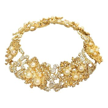 Rare 1968 Christian Dior Necklace with Faux Pearls & Rhinestones