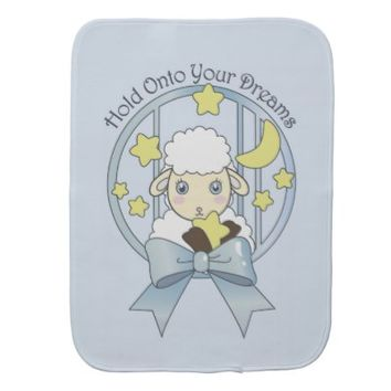 Cute Animal Burping Cloths for Baby Girl: Little Lamb, Moon, and Stars: Hold Onto Your Dreams: Sweet and Unique Burping Cloth Gift for Baby