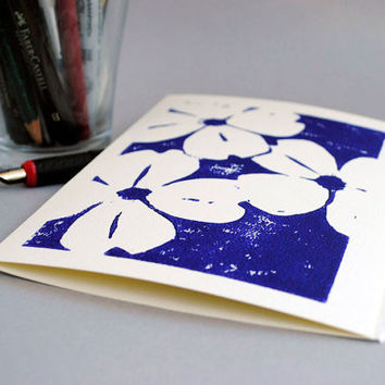Dogwoods Blank Notecard Deep Violet on Ivory Block by CursiveArts