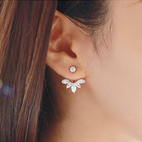 Aliexpress Hot Sale Trendy Popular Clear Crystal Rhinestone Flower Shaped Stud Earrings Double Side Earrings
