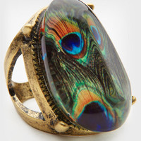 Oval Peacock Ring | Peacock Print Ring | fredflare.com