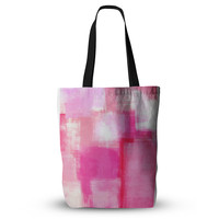 "CarolLynn Tice ""Running Late"" Pink White Everything Tote Bag"