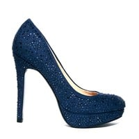 Faith Navy High Heeled Court Shoes