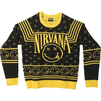 Nirvana Men's  Smiley Pattern Sweater Sweatshirt Black/Yellow