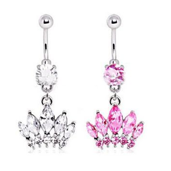 Elegant Body Jewelry Crystal Crown Belly Barbell Button Bar Ring