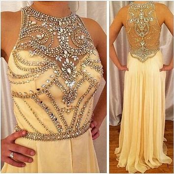 Chiffon Halter Sleeveless Formal Dresses Long Crystals Beaded 2016 Women Evening Dresses High Neck Vestido De Festa Z60506
