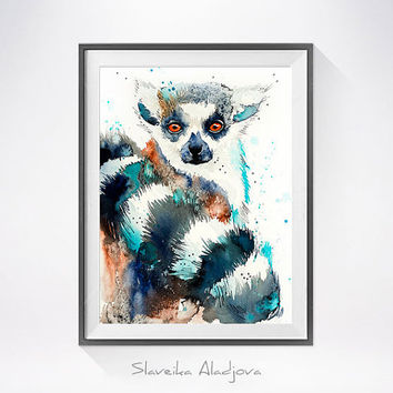 Lemur watercolor painting print, Lemur art, animal art, illustration, animal watercolor, animal poster, animals, Lemur illustration