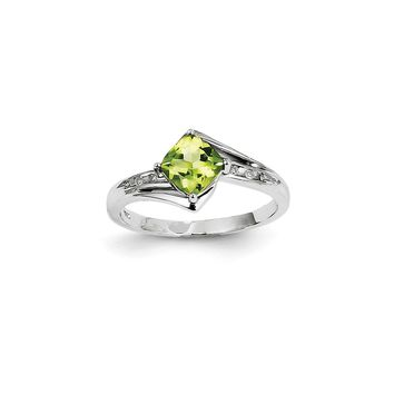 14K White Gold Diamond and Peridot Square Ring
