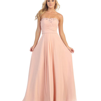 Blush Pink Strapless Pleated Chiffon Long Dress 2015 Prom Dresses