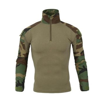 Hiking Shirt camping Men Long Sleeve Army T-Shirts Outdoor Hiking Military Soldiers Combat Tactical Men Gear Camouflage Force Shirt Shooting Hunting KO_17_1