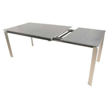 """Leyland Dining Table w/ 23.5"""" Ext Brushed Stainless Steel Legs, Gray Stone"""