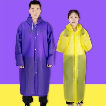 Long Universal Raincoat Women Men EVA Travel Rain Poncho Rainwear Cover NOT Disposable Waterproof Camping Hooded Raincoat