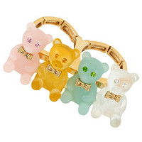 Betsey Johnson Ring, Gold-Tone Resin Gummy Bear Two-Finger Stretch Ring - Fashion Jewelry - Jewelry & Watches - Macy's