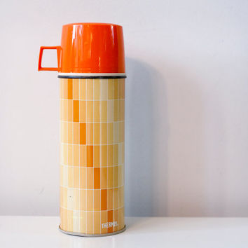 Vintage Thermos Brand Thermos With Orange Tiled Pattern