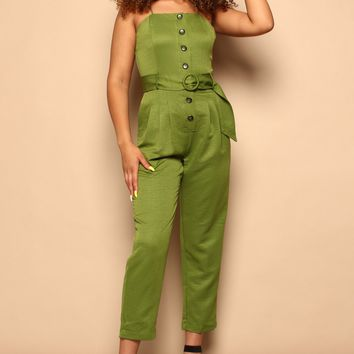 JOA Woven Sleeveless Button Front Jumpsuit