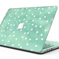 Green Watercolor and Whtie Polka Dots - MacBook Pro with Retina Display Full-Coverage Skin Kit