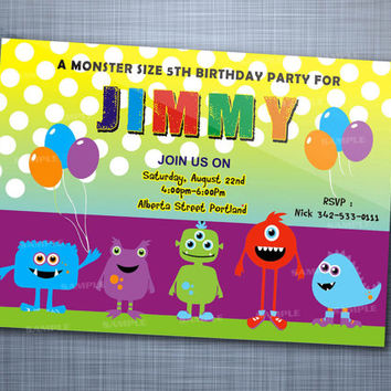 Little Monster Colorful  Polka Dot, Birthday Party, Invitation Card Design