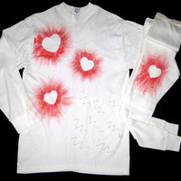 NWOT Tee Shirt/Leggings Set Long Sleeves Hand Painted With Bright Red Hearts Valentine's Day Gift