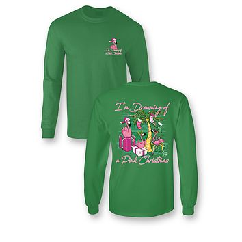 Sassy Frass Dreaming of a Pink Christmas Flamingo Tropical Long Sleeve Bright Girlie T Shirt