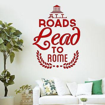 Wall Vinyl Stickers Decal Rome Europe Italy Lettering Quote Unique Gift (ig2106)