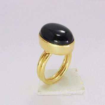 Handmade Ring - Black Onyx Ring - Bezel Set Ring - Cabochon Stone Ring - Oval Ring - Single Stone Ring - Gold Onyx Ring - Statement Ring