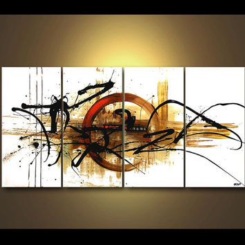 """Original Contemporary White Abstract Acrylic Painting Partially textured Painting by Osnat - MADE-TO-ORDER - 60""""x30"""""""