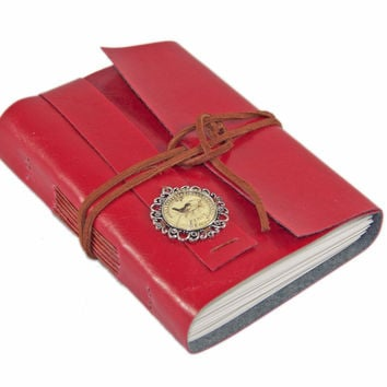 Red Faux Leather Journal with Lined Paper and Paris cameo