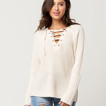 RAZZLE DAZZLE Lace Up Womens Sweater