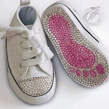 ICIKGQ8 swarovski crystal embellished converse all star baby toddler crib shoe