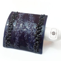 Purple Night Light Decorative Fused Glass Nightlight