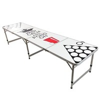 NEW 8' BEER PONG TABLE ALUMINUM PORTABLE ADJUSTABLE FOLDING INDOOR OUTDOOR TAILGATE PARTY GAME KEEP CALM AND PONG ON #9