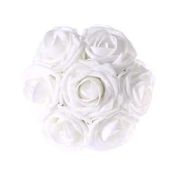 White Artificial Flowers 50pcs Real Looking Roses with Stems for Wedding Bouquets Centerpieces Party Baby Shower Decorations DIY