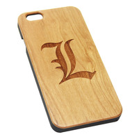 L Deathe Note Logo Anime Wood Engraved iPhone 6s Case iPhone 6 Case iPhone 6s 6 Plus Cover Natural Wooden iPhone 5s 5 Case Samsung Galaxy S6 S5 Case D128