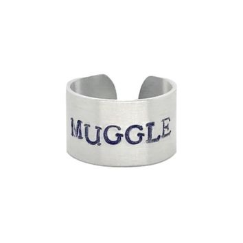 Muggle Hand Stamped Harry Potter Aluminum Cuff Ring
