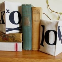 Pair of Hand Stamped Bookends Love and XOXO in by JoshuaByOak