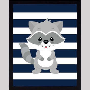 Raccoon on Navy Stripes Print Nursery Decor Baby Print Animals Art CUSTOMIZE YOUR COLORS 8x10 Prints Nursery Decor Art Baby Room Decor Kids