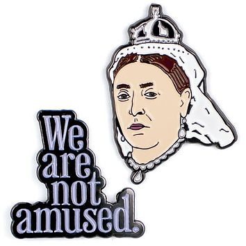 Queen Victoria & We Are Not Amused Colorful Enamel Pins Set of 2