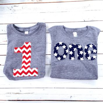 one Birthday Shirt boys 1st birthday red white blue All American Flag USA America stars stripes Triblend grey 4th of July Military Nautical