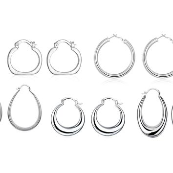 5 Pairs 18K White Gold Plated Hoop Earring