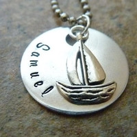 Personalized sail boat key ring sailing necklace Gift Hand stamped Navy custom